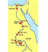 Abb. 4 Karte mit Bauwerken des Taharqo.