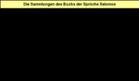 Tabelle 1: Die Sammlungen des Buchs der Sprüche Salomos.