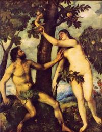 Abb. 4 Verführung und Verfehlung im Garten Eden (Gen 3; Tizian, um 1568).