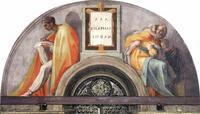 Abb. 2  Michelangelos Lünette in der Sixtinischen Kapelle zeigt links Asa und rechst die Könige Joschafat und Joram als Kinder mit Mutter (Fresco; um 1510).