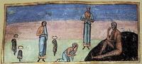Abb. 2 Trauer der drei Freunde Hiobs. Zofar als der Jüngste der drei (Miniatur aus dem Codex Sinaiticus Graecus 3; 11. Jh.).