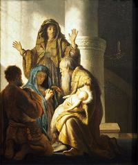 Abb. 1 Simeon und Hanna im Tempel; Gemälde, Niederlande, Rembrandt van Rjn (1627), Hamburger Kunsthalle