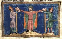 Abb. 2 Mose werden die Arme hochgehalten (Rudolf von Ems, Weltchronik; 14. Jh.).