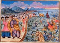 Abb. 5 Der Auszug aus Ägypten (Jüdische Haggada aus Mähren; Tschechischer Maler; um 1740).