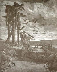 Abb. 1 Rizpa kümmert sich um die Leichen der Sauliden (Gustave Doré; 19. Jh.).