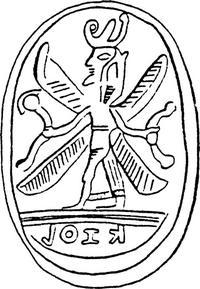 Aus: O. Keel / Chr. Uehlinger, Götter, Göttinnen und Gottessymbole (QD 134), Freiburg, 5. Aufl. 2001, Abb. 211c; © Stiftung BIBEL+ORIENT, Freiburg / Schweiz