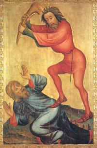 Abb. 4 Kain erschlägt Abel (Meister Bertram, Hochaltar der Petrikirche, Hamburg; 1375-1383).