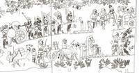 Abb. 1 Flüchtende judäische Frauen verlassen die von den Assyrern 701 v. Chr. belagerte judäische Stadt Lachisch (Südwestpalast in Ninive), in: Ussishkin, David, The Conquest of Lachish by Sennacherib, Tel Aviv 1982.