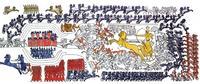 Aus: I. Rosellini, I monumenti dell' Egitto e della Nubia, 1. Monumenti storici, Bd. I, Pisa 1832, Taf. CVI und CVII, Korrekturen und Kolorierung zur Hervorhebung der auf verschiedenen Zeitebenen ablaufenden Handlungen Thomas von der Way
