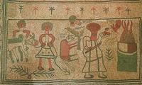 Abb. 16 Die Bindung Isaaks (Fußbodenmosaik in der Synagoge von Bet Alfa; 6. Jh.)