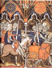 Abb. 1 Debora und Barak ziehen in die Schlacht (Ri 4f; Psalter des Hl. Ludwig; 13. Jh.).