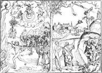 Abb. 2 Das Alte und das Neue Testament als Gesetz und Evangelium (Holzschnitt von Lukas Cranach d. Ä.; 1529).