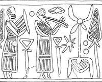 Aus: J. Eggler / O. Keel, Corpus der Siegel-Amulette aus Jordanien. Vom Neolithikum bis zur Perserzeit (OBO.SA 25), Freiburg (Schweiz) / Göttingen 2006, 192f (Nebo Nr. 1). Mit Dank an © Stiftung BIBEL+ORIENT, Freiburg / Schweiz