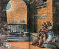 Abb. 1 Abimelech beobachtet Isaak und Rebeka (Raffael; Fresco im Vatikan; 1518-19).