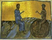 Abb. 3 Bildad im Gespräch mit Hiob (Miniatur aus dem Codex Hagíou Táphou 5; 13. Jh.).