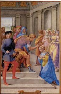 Abb. 3 Die Wahl fällt auf Ester (Farnese-Stundenbuch; 16. Jh.).
