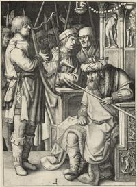 Abb. 4 David spielt die Harfe vor Saul (Lucas van Leyden; 1509).