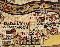 Abb. 1 Ausschnitt aus der Madabakarte mit Darstellung von Gilgal.