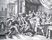 Abb. 3 Absalom lässt Amnon töten (Matthäus Merian d.Ä.; 1625-1630).