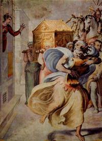 Abb. 4 Michal sieht David vor der Lade tanzen (Francesco Salviati; 1552-54).