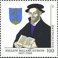 Abb. 4 Briefmarke zum 500. Geburtstag Melanchthons mit dessen Wappen, das die eherne Schlange zeigt (1997).