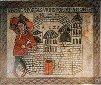 Abb. 2 Simson trägt die Torflügel von Gaza weg (Mosaik in St. Gereon in Köln; 12. Jh.).