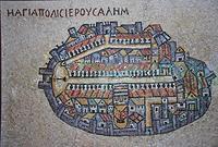 Nachbildung eines Teiles des Madabamosaiks, das die Kirchen Jerusalems zeigt, Fotografie: Hirschberg (2014)