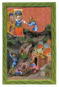 Abb. 1 Isebel stiftet die Ermordung Nabots an (Wenzelsbibel; 14. Jh.).