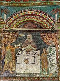 Abb. 5 Die Opfer Abels, Melchisedeks und Abrahams (Ravenna, San Apollinare in Classe, 6. Jh.).