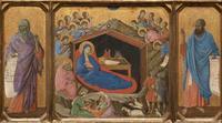 Abb. 5 Jesaja (links) und Ezechiel (rechts) erscheinen neben der Geburt Christi, da sie in der christlichen Tradition als Propheten gelten, die Christus angekündigt haben (Duccio di Buoninsegna; um 1310).