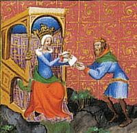 Abb. 4 Königin Isebel verschickt Briefe (1Kön 21; Wenzelsbibel; 14. Jh.).