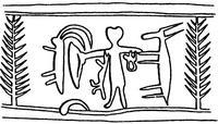 Aus: O. Keel / Chr. Uehlinger, Götter, Göttinnen und Gottessymbole (QD 134), Freiburg, 5. Aufl. 2001, Abb. 197b; © Stiftung BIBEL+ORIENT, Freiburg / Schweiz