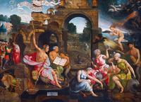 Abb. 6 Jacob Cornelisz. van Oostsanen sieht die Frau von En-Dor als Hexe in einer Friedhofslandschaft (1526).