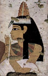 Abb. 3 Frau mit Salbkegel auf dem Kopf (Malerei aus der Grabkammer TT181 der Bildhauer Nebamun und Ipuki; Szene: Porträt der Gattin; etwa 1350-1300 v. Chr.).
