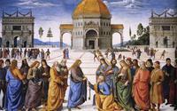 Abb. 8 Christus übergibt Petrus den Schlüssel (Fresko von Pietro Perugino; 1481-1482).