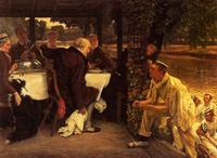 Tissot, the Prodigal Son In Modern Life, the Fatted Calf, 1882, Quelle: http://www.wikiart.org/en/james-tissot/the-prodigal-son-in-modern-life-the-fatted-calf Wikimedia Commons, gemeinfrei