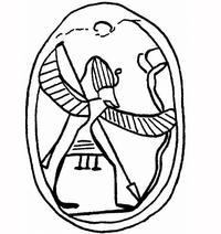 Aus: O. Keel / Chr. Uehlinger, Götter, Göttinnen und Gottessymbole (QD 134), Freiburg, 5. Aufl. 2001, Abb. 87b; © Stiftung BIBEL+ORIENT, Freiburg / Schweiz