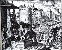 Abb. 2 Nehemia baut Jerusalems Stadtmauer wieder auf (Matthäus Merian d. Ä.; 1630 n. Chr.).