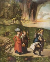 Abb. 1 Die Zerstörung von Sodom und Gomorra; Lot und seine Töchter fliehen (Albrecht Dürer; 1498).