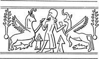 Aus: O. Keel / Chr. Uehlinger, Götter, Göttinnen und Gottessymbole (QD 134), Freiburg, 5. Aufl. 2001, Abb. 283; © Stiftung BIBEL+ORIENT, Freiburg / Schweiz