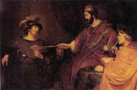 Abb. 1 David überreicht Uria den Todesbrief (Govaert Flinck; 17. Jh.).
