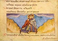 """Abb. 1 """"Gerechtigkeit und Friede küssen sich"""" (Illustration zu Ps 85,11; Stuttgarter Psalter; 9. Jh.)."""