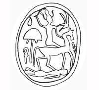 Aus: O. Keel / M. Shuval / Chr. Uehlinger, Studien zu den Stempelsiegeln aus Palästina / Israel III (OBO 100), Freiburg (Schweiz) / Göttingen 1990, 214, Fig. 38; © Stiftung BIBEL+ORIENT, Freiburg / Schweiz