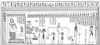 Aus: R. Lepsius, Das Todtenbuch der Ägypter nach dem hieroglyphischen Papyrus in Turin, Leipzig 1842, Tafel L (für diesen Artikel leicht nachbearbeitet von B. Backes)
