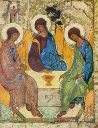 """Abb. 5 Abrahams Gastmahl und die """"Alttestamentliche Dreifaltigkeit"""" (Ikone von Andrej Rubljew; um 1425)."""