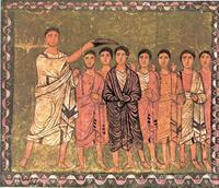 Abb. 4 Samuel salbt David (1Sam 16; Wandmalerei in der Synagoge von Dura Europos; 3. Jh.).