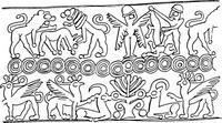 Aus: O. Keel / Chr. Uehlinger, Götter, Göttinnen und Gottessymbole (QD 134), Freiburg, 5. Aufl. 2001, Abb. 53; © Stiftung BIBEL+ORIENT, Freiburg / Schweiz