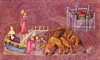 Abb. 4 Rebekka und Abrahams Knecht am Brunnen (Wiener Genesishandschrift; 6. Jh.).