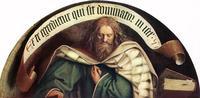 """Abb. 1 Micha mit dem christologisch gedeuteten Vers """"ex te egredietur qui sit dominator in Israhel"""" (""""aus dir soll mir der kommen, der in Israel Herrscher sei"""" [Mi 5,1]; Jan van Eyck; 15. Jh.)."""