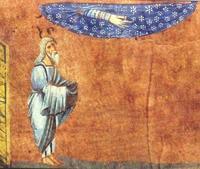 Abb. 1 Abraham erhält seine Verheißung unter dem Sternenhimmel (Wiener Genesishandschrift; 6. Jh.).